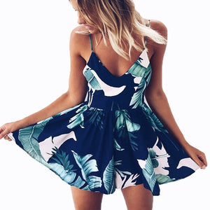 2018 Summer Rompers Womens Jumpsuit Floral Printed Short Playsuits Deep V-Neck Sling Female Bodysuits Sexy Boho Beach Shorts-cigauy