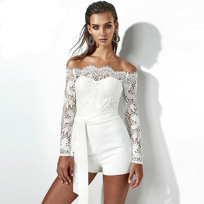 WYHHCJ 2018 sexy backless women playsuit off shoulder long sleeve sashes summer jumpsuit skinny lace patchwork women bodysuit-cigauy