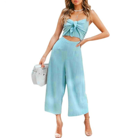 56b0eab2d294 Women Spaghetti Strap Jumpsuit Bow Cutout Elastic Backless Midriff Baring  Loose Causal hollow out adjustable cotton linen