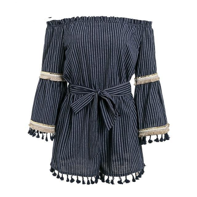 Simplee National boho stripe tassel jumpsuit romper Women sexy off shoulder overalls Summer beach flare sleeve short playsuit-cigauy