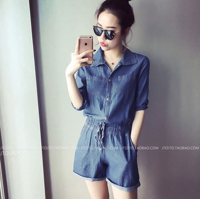 2018 Denim Jumpsuit For Girls Women Jeans Playsuit Elastic Waist Sashes With Pockets Rompers Overalls Plus Size macacao S74402-cigauy