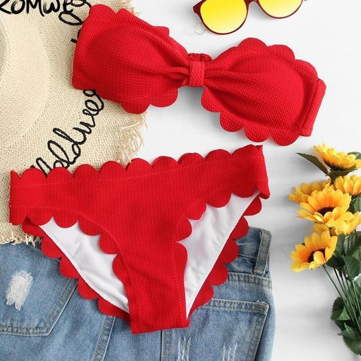 Romwe Sport Scalloped Trim Bandeau Bikini Set 2018 New Red Female Clothing Off The Shoulder Beach Vacation Two-pieces Sweamwear-cigauy