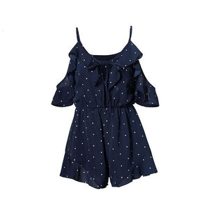 Lily Rosie Girl Ruffles Dot Print Lace Up V Neck Women Playsuits Short Sleeve Jumpsuits Backless 2018 Navy Blue Rompers Overalls-cigauy