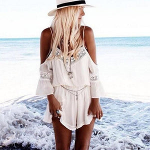 Summer Jumpsuit Sexy V Neck off Shoulder Jumpsuit White Beach Style Women Casual Chiffon Short Pants Jumpsuit-cigauy