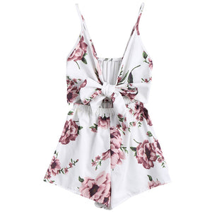 AZULINA Bohemian Floral Print Plunge Spaghetti Strap Romper Jumpsuits Sexy Women Playsuits Rompers Summer Women Beach Playsuits-cigauy