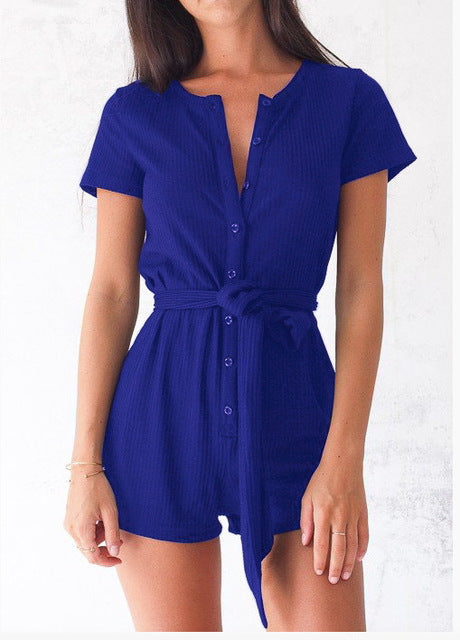 Short Sleeve Playsuits Slim Bandage Jumpsuits Women Summer 2018 Fashion Sexy Buttons Rompers Female Bow Tie Jumpsuits Feminina-cigauy
