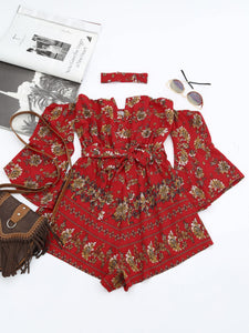 Gamiss Spring Autumn Women Off The Shoulder Rompers Female Causal Long Belted Sleeves Floral Printed Jumpsuits Beach Red Overall-cigauy