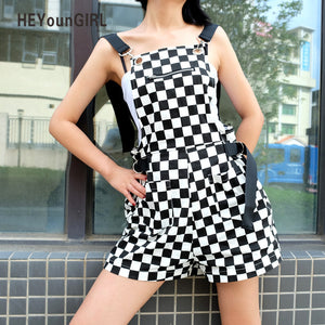 HEYounGIRL Checkerboard Women Overalls Casual Romper Jumpsuit Shorts Summer Backless Strap Checkered Female Black White Playsuit-cigauy