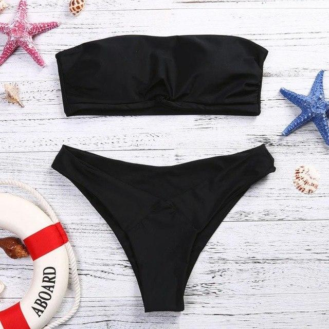 Women Bikini 2018 Set Low Waist Solid Color Strapless swimsuit Swim Bathing Suits Swimwear biquini feminino Brazilian#EW-cigauy