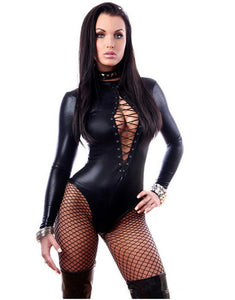 Bodysuit Exotic Sexy Lingere Black Patent Leather Leotard Faux Leather Latex Catsuit Women Sexy Bodysuit Clubwear Jumpsuits-cigauy