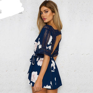 Lily Rosie Girl Sexy Hollow Out Backless Women Playsuit Boho Print Rompers With Belt Femme Beach Summer Jumpsuits Overalls-cigauy