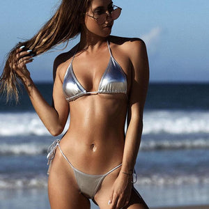 OMKAGI Sexy Push Up Brazilian Bikini 2018 Swimsuit Swimwear Women Shiny Solid Bikinis Set Bathing Suit Beachwear Summer Newest-cigauy