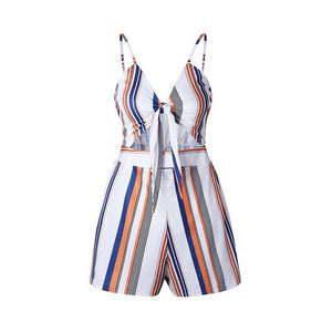 Gaovot 2018 Summer Women Chiffon Print Playsuits Sexy Deep V-Neck Spaghetti Strap Bow Hollow Out Rompers Female Jumpsuit S-XL-cigauy