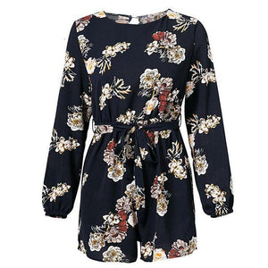 Lily Rosie Girl Sexy Backless Boho Print Long Sleeve Women Playsuits Floral Print Romper Belt Navy Blue Femme Jumpsuits Overalls-cigauy