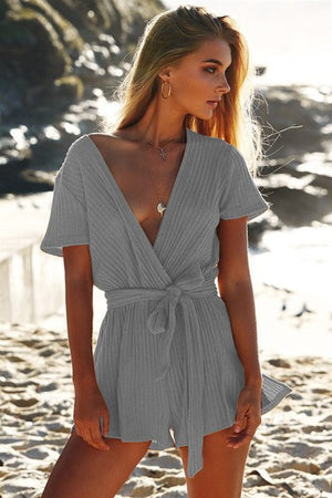 2018 Fashion Slim Sexy Bandage Jumpsuits Rompers Women V-collar Short Sleeve Bodysuit Bodycon Female Overalls Playsuit Lyk5-cigauy