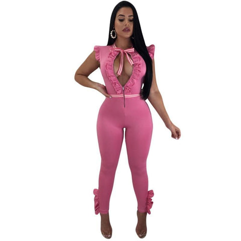 df319475755 Stigende Casual Sleeveless Jumpsuits for Women Ruffle Jumpsuit Overalls  Front Zipper Slim Bodycon Jumpsuit Romper Streetwear