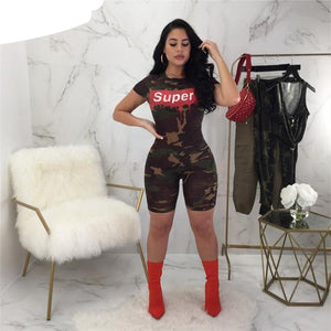 VAZN 2018 Sumemr Sexy Fashion Top Design Women Jumpsuits Camouflage PINK Letters O-Neck Short Sleeve Bodycon Rompers B9078-cigauy