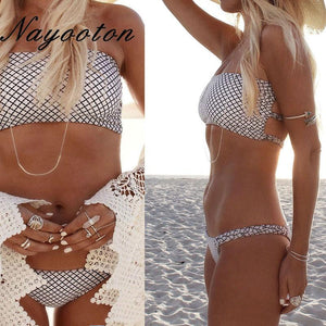Summer 2018 push up new women's bikini set sexy crop top bathing suit white thong swimwear lattice printing swimsuit D0221-cigauy