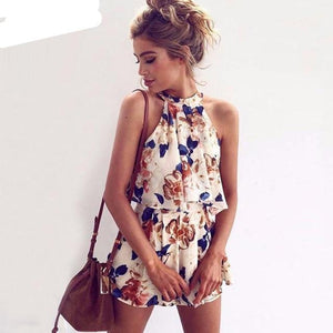 Floral Print Chiffon Playsuit Women 2018 Summer Sexy Off Shoulder Halter Sleeveless Boho Rompers Jumpsuit Beach Party Overalls-cigauy