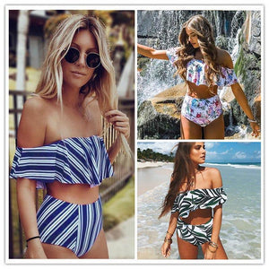 2017 Sexy bikini Set High Waist Swimwear Women Striped Biquini Ruffled Swim Bathing Suit White Blue Swimsuit Vintage Bikinis-cigauy