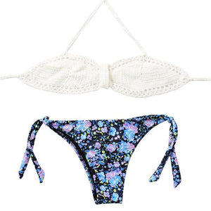 2018 New Arrival Crochet Bikini Sets Pure Handmade Top Sexy Halter Swimwear Women Floral Print Biquini Low Waist Swimsuit-cigauy
