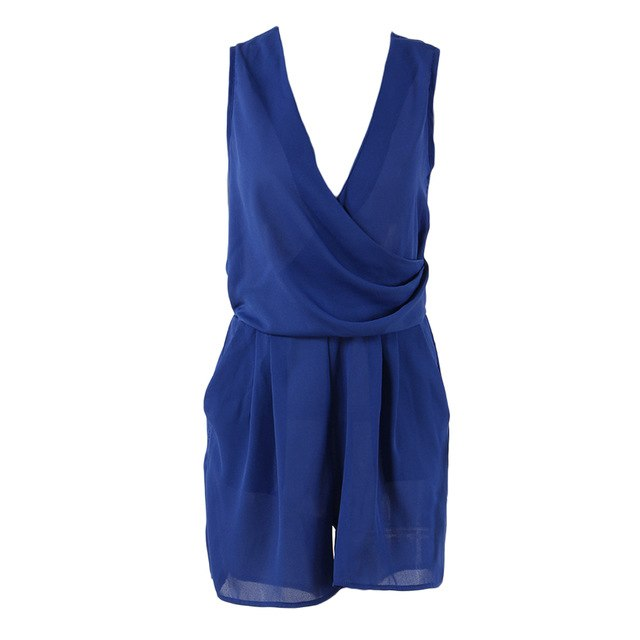 Sexy V Neck Summer Rompers Womens Jumpsuit Sleeveless Beach Chiffon Short Overalls For Women Jumpsuit Casual Party Playsuit-cigauy