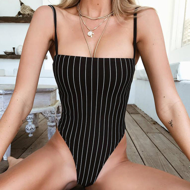 Dulzura stripe sleeveless bodysuit 2018 summer women sexy skinny Straight neck black body-cigauy