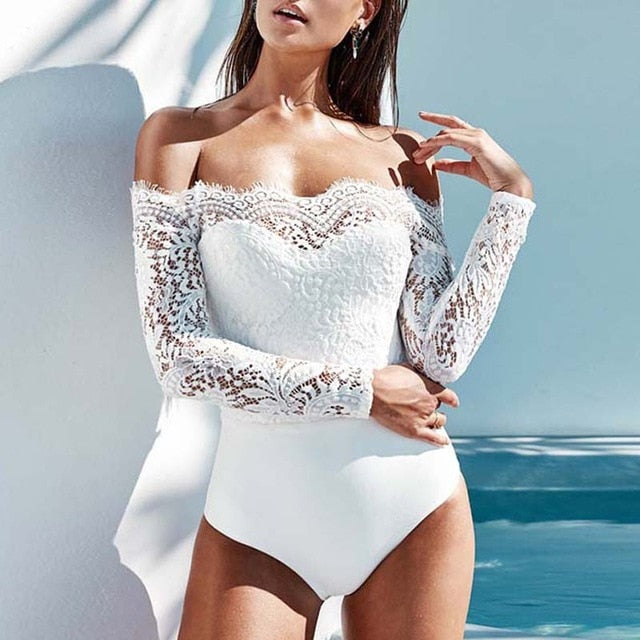 Celmia 2018 Elegant Off Shoulder Lace Bodysuits Solid Body Top Romper 2018 Women Jumpsuits Long Sleeve Slim Sexy White Playsuit-cigauy