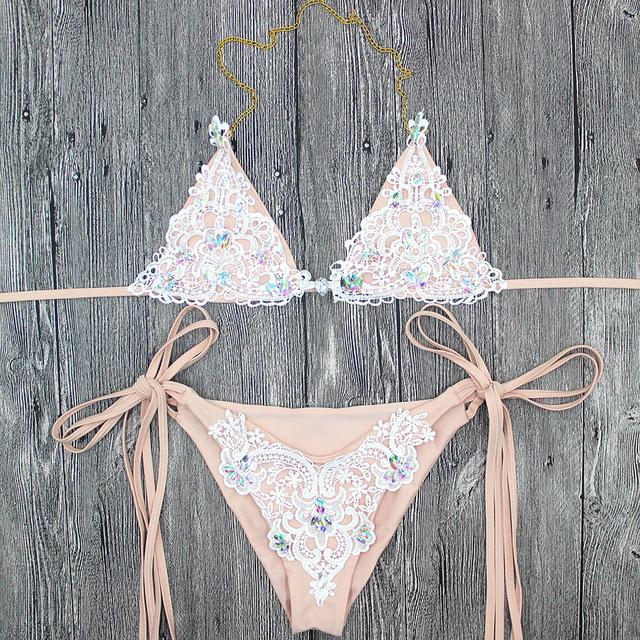 pfflook New Designs Secret Diamond Crystal White Lace patchwork Bikini Set Swimwear Brand Women Swimsuit Biquini Bathing Suit-cigauy