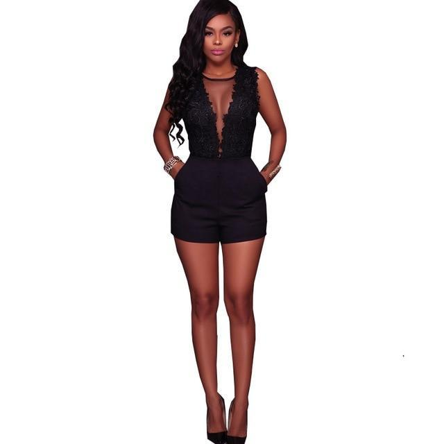 HAMBELELA Sexy Black Lace Bodysuit Women O-Neck Mesh Jumpsuits Romper Backless Embroidery Ladies Body Dentelle Shorts Playsuits-cigauy