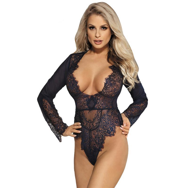 Ohyeahlover Lace Bodysuit Macacao Feminino Women Bodysuits Skinny Sexy Club RM80400 Plus Size Exquisite Lace Long Sleeve Teddy-cigauy
