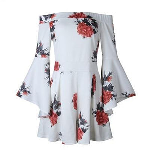 WYHHCJ 2018 Flower Print Women Summer White Short Sexy Rompers Jumpsuit Deep Slash Neck Long Flare Sleeve Beach Party Playsuits-cigauy
