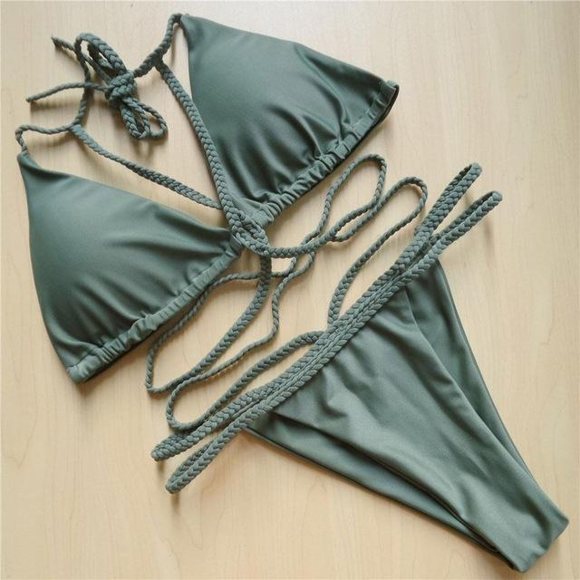 10 Colors Braided Strap Padded String Bikini 2018 Sexy Women Swimwear female Two-pieces swimsuit Bathing Suit Swim Bather V52-cigauy