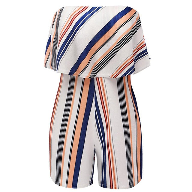 Playsuits Sexy Off Shoulder Women Rompers Strapless Striped Womens Short Jumpsuit Overalls Bodysuit Woman One Piece Pants-cigauy