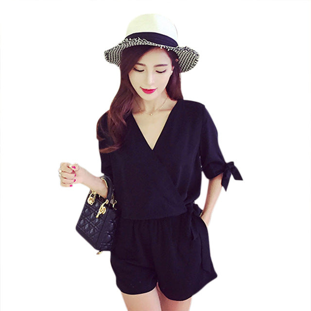 Sexy v neck summer jumpsuit romper Women Lace Up Tie black shorts playsuits Elegant bow High Waist Half sleeve overalls-cigauy