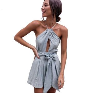 NewAsia Sexy Bodysuit Summer Jumpsuit Bow Tie Waist Belt Backless Halter Women's Playsuit Beach Rompers Womens Jumpsuit Short-cigauy