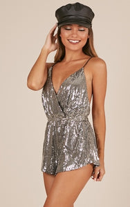 Sexy women V Neck Silver Sequins Summer Playsuits short Luxury nightclub bodysuit bandage Backless beach Jumpsuit Party Overalls-cigauy