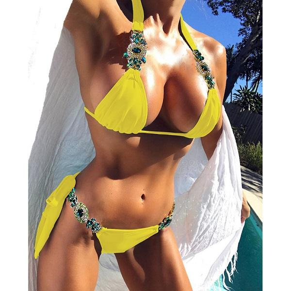 VIEUNSTA 2018 lace bikini Diamond Swimsuit Crystal women swimwear bandage bikinis brazilian rhinestone beachwear push up bikini-cigauy