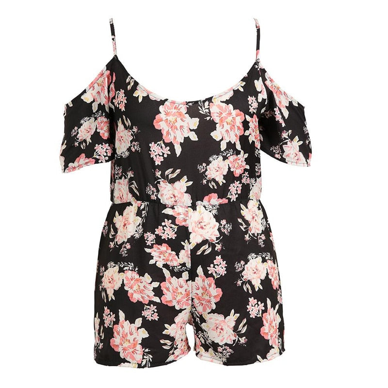 Plus Size Women Short Sleeve Floral Printed O-Neck Off Shoulder Spaghetti Strap Summer Female Romper Leisure Chic Casual Fashion-cigauy