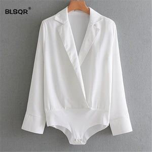 BLSQR Fashion Women Casual White Color Bodysuit Shirt Long Sleeve Crossover Lapel Collar Lady Office Jumpsuit Playsuit Tops-cigauy