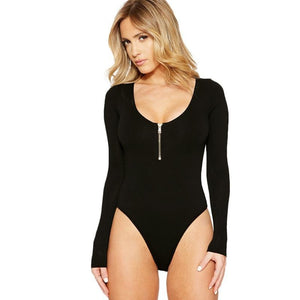 Women Sexy Casual Bodysuit Basic Long Sleeve Jumpsuit Solid Skinny Bodysuits New Arrival 2018 Summer Plus Size High Quality-cigauy