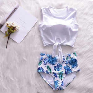 Brand Summer Retro Floral/Feather Swimwear Women Sexy Girls 3 in 1 Bikini Set Push Up Swimsuit with Beach Cover-Ups Bathing Suit-cigauy