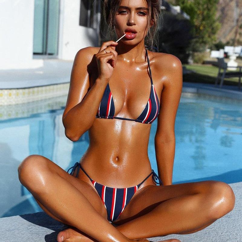 Newest 2018 Women Hot summer striped Bikini set Sexy bandage Triangle Push up Bra Side Tie thong bathing suit Beachwear Monokini-cigauy