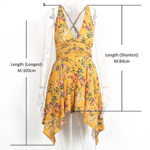 Simplee V neck sexy floral print coveralls Backless zipper women jumpsuit romper 2017 summer beach overalls playsuit leotard-cigauy