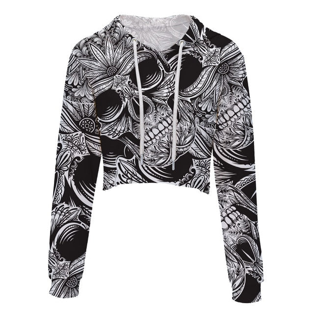 LEIMOLIS crop top hoodie women 3d print pink black gothic flower skull casual harajuku kawaii Spring Autumn Thin tops sweatshirt-cigauy