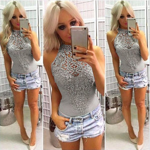 Fashion Summer Women Sexy Romper Hollow Lace Splice Sleeveless Solid Color Knitted Stripe Ladies Tight Jumpsuit H9-cigauy