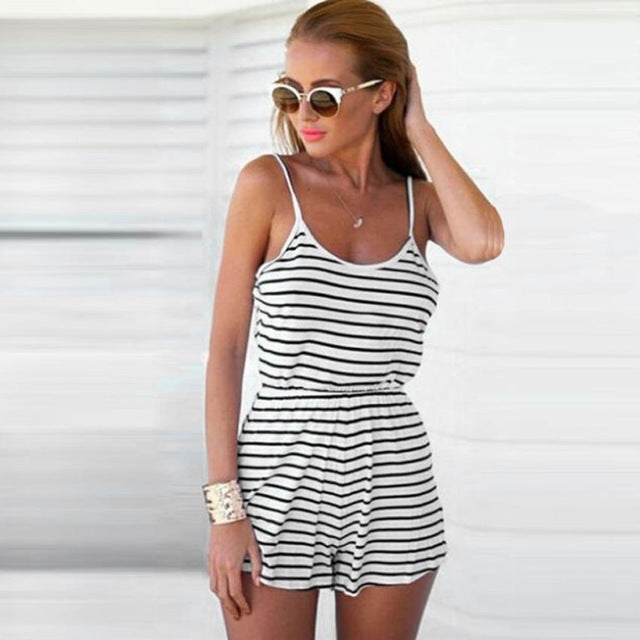 snowshine4 # 3001 2018 Women Fashion Casual Ladies Jumpsuit Romper Summer Beach Striped Backless Vest Playsuit hot sales drop-cigauy