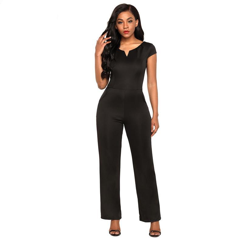 Dear Lover Elegant Romper Overalls Women Black Daily Fashion Pocket Wide Leg Jumpsuit Casual Office Work Wear Long Pants LC64364-cigauy