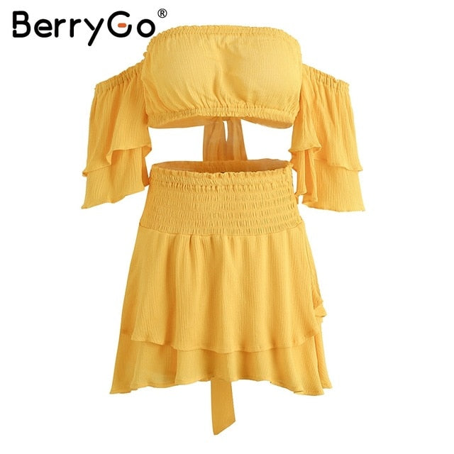 BerryGo Ruffles off shoulderwomen jumpsuit romper Sexy elastic high waist cross lace up backless overalls Summer beach jumpsuit-cigauy