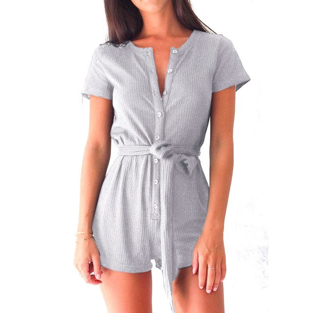 Sexy Short Rompers Women Jumpsuits 2017 Summer Short Sleeve V-neck Slim Overalls Bodysuits Button Combinaison female playsuits-cigauy
